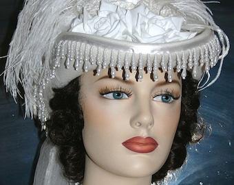 Victorian Hat, SASS Hat, Wedding Hat, Tea Party Hat, White Hat, Cocktail Hat, Western Hat, Kentucky Derby Hat - Spirit of Alexandria
