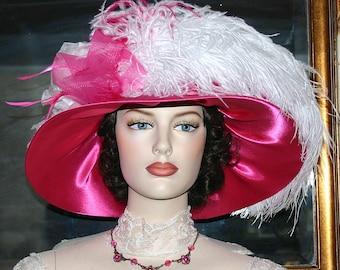 Kentucky Derby Hat, Ascot Hat, Titanic Hat, Church Hat, Wedding Hat, Del Mar Hat, Fashion Hat, Wide Brim Hat, Tea Hat - Mademoiselle Monet