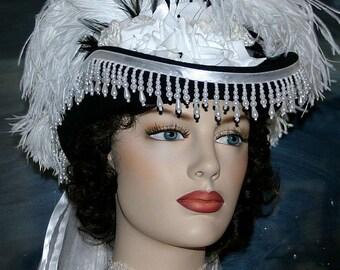 Victorian Hat, Wedding Hat, Tea Party Hat, Riding Hat, SASS Hat, Black White Hat, Coctail Hat, Kentucky Derby Hat - Spirit o Alexandria