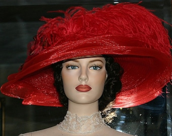 Kentucky Derby Hat, Ascot Hat, Edwardian Tea Hat, Titanic Hat, Somewhere Time Hat, Downton Abbey Hat, Red Hat Society - Lady Ophelia