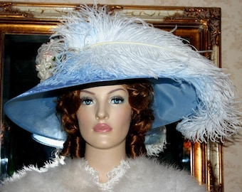 """Kentucky Derby Hat Edwardian Style Hat Tea Hat Downton Abbey Hat Ascot Hat """"Run for the Roses"""" Blue Hat"""
