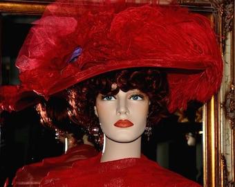 Kentucky Derby Hat, Del Mar Hat, Fashion Hat, Edwardian Hat, Red Hat, Wide Brim Hat, Ascot Hat, Titanic Hat, Women's Hat - Miss Red Delight