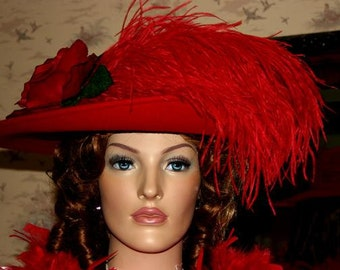 Edwardian Hat, Downton Abbey Hat, Tea Pary Hat, Kentucky Derby Hat, Ascot Hat, Wide Brim Hat, Red Hat Society - Lady Yorkshire
