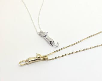Hanging Cat Necklace - gold or silver