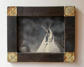 Native Tepee / Original Art / Encaustic Mixed Media Art / Original Digital Photograph / Wall Art / Wall Decor /  DAYBREAK  by Mikel Robinson