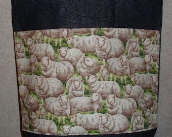 New Handmade Medium Sheep Lamb Farm Denim Tote Bag