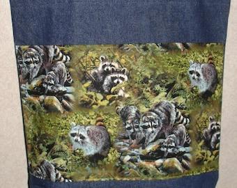 New Large Handmade Raccoon Family Wildlife Denim Tote Bag
