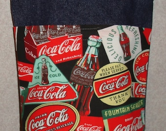 New Small Denim Tote Bag Handmade with Coke Coca Cola Signs Fabric