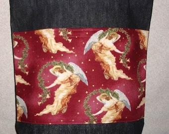 New Handmade Large Denim Tote Bag Christmas Angels Theme