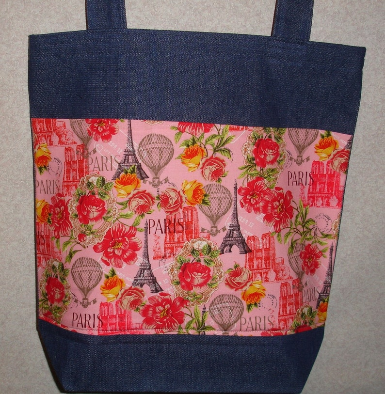 New Handmade Large Denim Tote Bag Paris Travel Tourism Vacation Theme