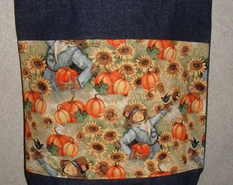 New Medium Handmade Denim Tote Bag Autumn Harvest Scarecrow Pumpkins Theme