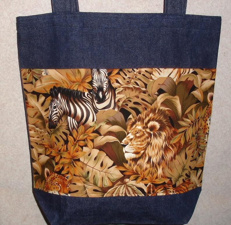 New Handmade Large Denim Tote Bag Jungle Lion Zebra Wildlife Theme