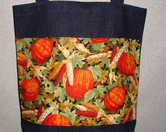 New Handmade Large Pumpkin Corn Fall Harvest Denim Tote Bag