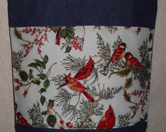 New Large Handmade Cardinals Winter Birds Holiday Denim Tote Bag
