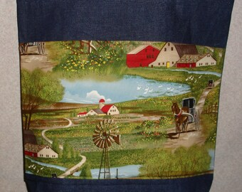 New Large Handmade Amish Country Buggy Farm Denim Tote Bag