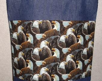 New Large Handmade Majestic Eagles Denim Tote Bag