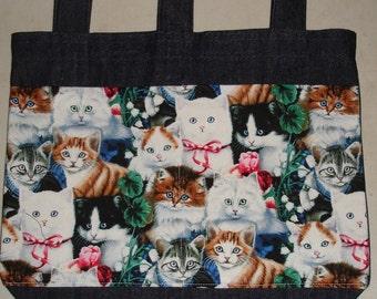 New Handmade Denim Walker Tote Bag Kitty Cats Ribbons Theme