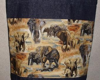 New Large Handmade Elephant Wildlife Denim Tote Bag