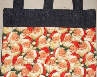New Handmade Denim Walker Tote Bag Holiday Winter Christmas Santa Faces Theme