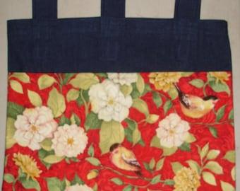 New Handmade Denim Walker Tote Bag Flowers Birds Red Background Theme