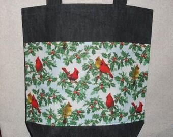New Large Handmade Cardinal Holly Holiday Denim Tote Bag