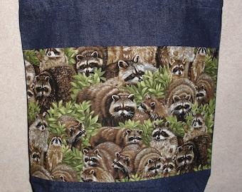 New Large Handmade Raccoon Wildlife Denim Tote Bag