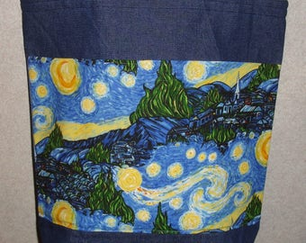 New Large Handmade Starry Starry Night Village Town Library Denim Tote Bag
