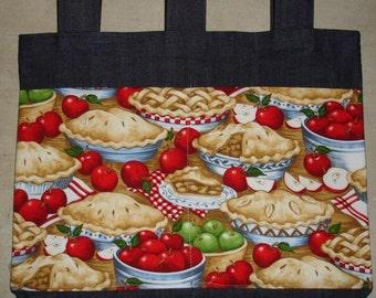 New Handmade Denim Walker Tote Bag Apple Pie Kitchen Theme