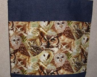 New Handmade Large Owl Bird Toss Wildlife Denim Tote Bag