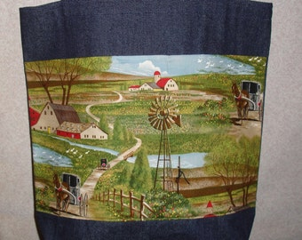 New Large Handmade Amish Farm Country Buggy Windmill Theme Denim Tote Bag