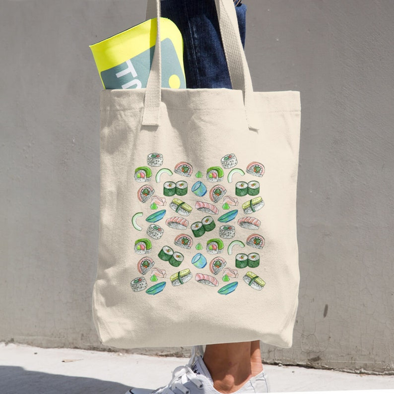Sushi Pattern Canvas Tote Bag