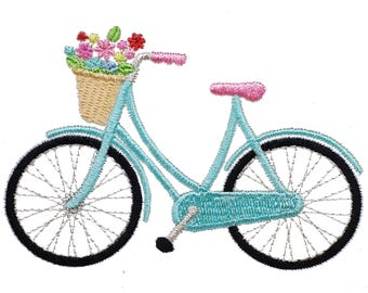 Floral Bicycle Embroidery Design, Flower Bicycle Design, Bike Design,  Machine Embroidery Design, Flower Basket Design, Instant Download