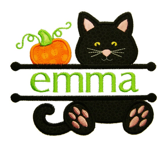 Halloween Applique Cat Applique Pumpkin Applique Font Etsy