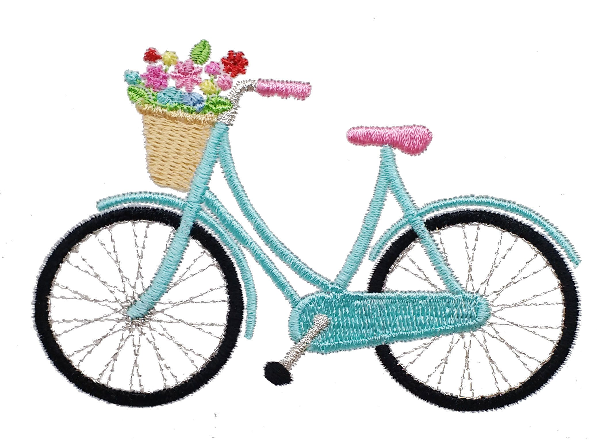 Floral Bicycle Embroidery Design Flower Bicycle Design Bike