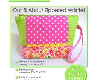 Pouch Pattern, Zippered Pouch Pattern, Purse Pattern, Zippered Wristlet PDF Pattern, Wristlet Pattern, PDF Sewing Pattern, Instant Download