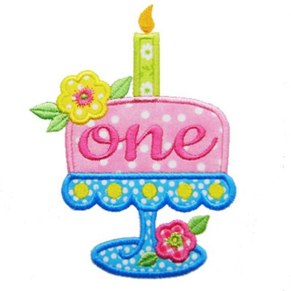 Birthday Cake Applique First Birthday Applique 1st Birthday Etsy