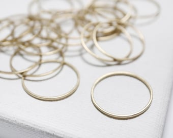 20mm Simple Circle Links - 36pcs - Raw Brass Circle, Brass Rings, Circle Connectors, Raw Brass Hoops, Circle Charms, Round Link