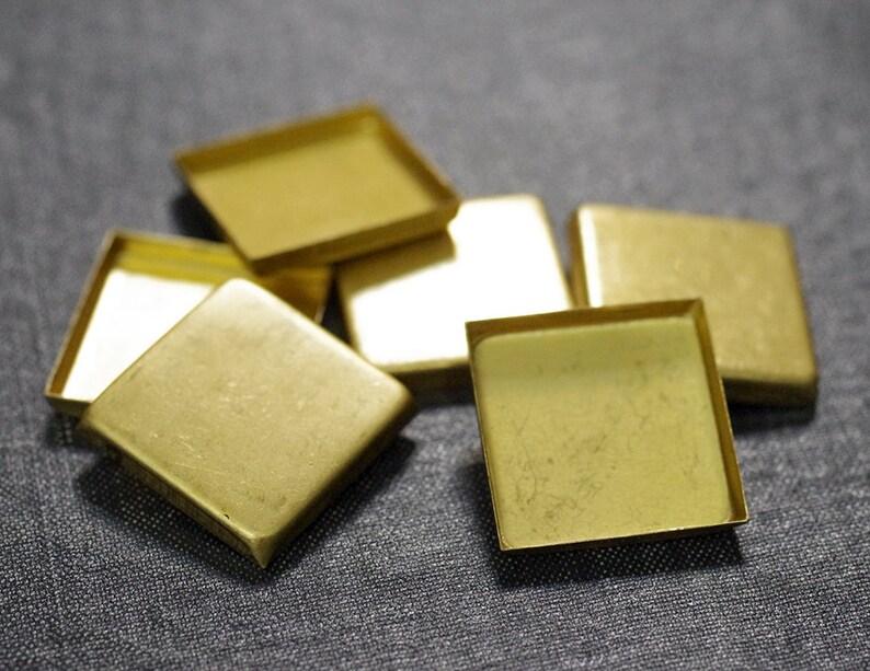 Brass Bezel Flatback Stone Raw Brass 25mm Square Flat Back Bezel Settings Square Setting CLOSEOUT 24pcs Brass Bezel Square Bezel