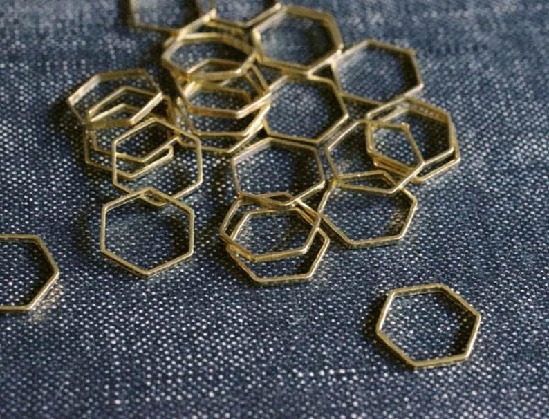 Honeycomb Hexagons 10mm  Raw Brass  48pcs  Hexagon image 0