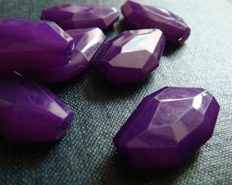 CLOSEOUT - 25x16mm Translucent Faceted Acrylic Flat Nugget Beads - Violet - Faceted Nugget Bead, Chunky Acrylic Bead, Large Purple