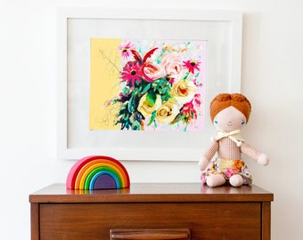 Floral Painting Print, vintage style floral art print, art print of abstract floral painting, nursery art print