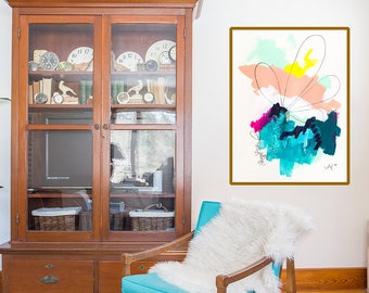 Large colorful abstract painting wall art print, turquoise fine art giclee, edgy abstract art