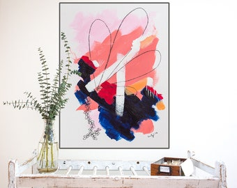 Large abstract art print - wall art print - abstract fine art giclee - edgy abstract art - pink abstract painting print