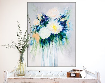 Large abstract floral art print of original Boho-chic flower painting, abstract art giclee, boho wall decor