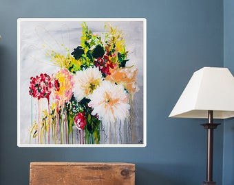 Large floral art print of original painting - abstract floral art giclee - boho-chic wall decor - botanical art print
