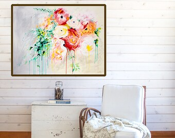 Floral Wall Art Print - floral painting print - Boho style art print - Abstract Floral Art - Flower Painting