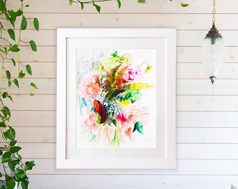 Large abstract floral art print of original watercolor flower painting, floral art giclee, floral wall decor