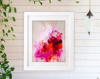 Large abstract pink and orange art print of original abstract painting, abstract expressionist giclee, abstract wall decor