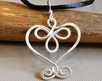 Celtic Heart Pendant, Sterling Silver Wire, Gift for Her Celtic Necklace, Silver Heart Jewelry, Silver Heart Necklace, Women, Gift forWife