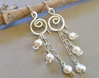 Long Pearls And Swirls Sterling Silver Dangle Earrings, Long Dangle Earrings, Bridal Earrings Pearl Jewelry Women Fresh Water Pearl Earrings